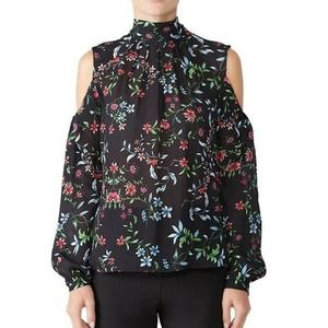 Milly Sheer Dana Top 4 Cold Shoulder Floral Print Tie Neck Long Sleeve Blouse